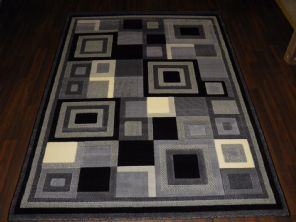 Modern 7x5ft 150x210cm Woven Backed Square Rugs Top Quality  BARGAINS Grey/Black